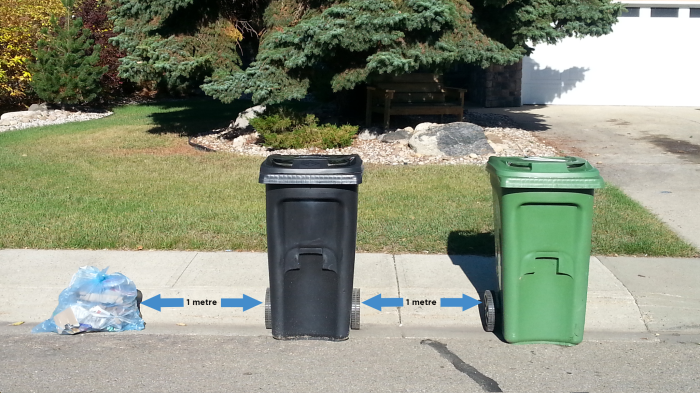 Organics, garbage cart and recycling bag placed 1 metre apart