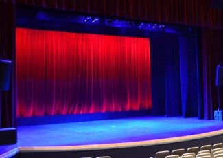 Shell theatre with curtains drawn