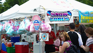 Snow cone and cotton candy food tent