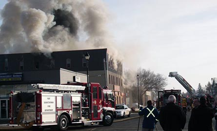 Fort Hotel fire with fire truck in the foreground