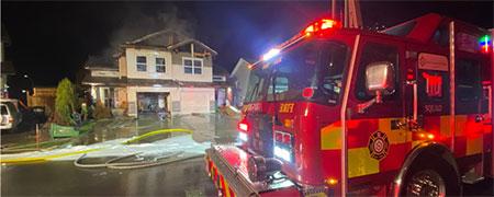 Fire truck at a duplex fire